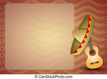 Guitar with mexican sombrero - illustration of Guitar with...