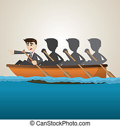 cartoon business team rowing on sea - illustration of...