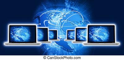 azul, Vívido, globo,  laptop, algum, imagem, tela