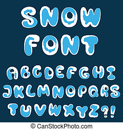 Christmas snow alphabet - vector illustration of Christmas...