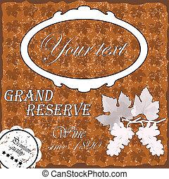 Brown wine label - Wine,border floral caligraphic retro...