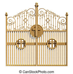 céus, dourado, portões, isolado