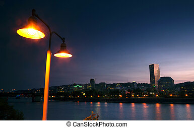 Willamette River Waterfront Downtown Portland City Skyline...
