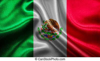 Flag of Mexico - Mexican flag fabric with waves