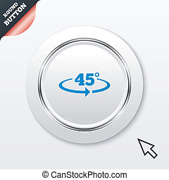 Angle 45 degrees sign icon Geometry math symbol White button...
