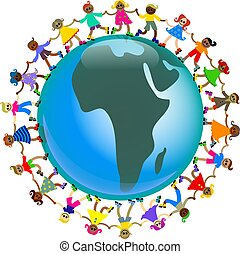 african kids - A group of happy and diverse children holding...
