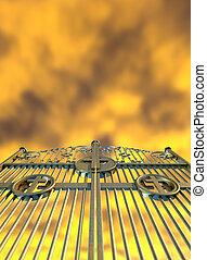 céus, dourado, portões, e, amarela, céu