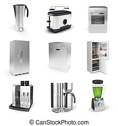 3d render of household appliances on white background