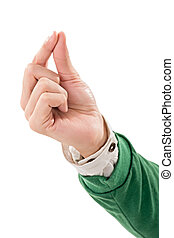 pick up gesture  - Hand gesture, pick up, isolated on white.