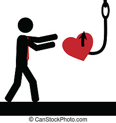Man,heart and hook - Vector , illustration.A man is tricked...