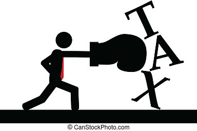Boxing the taxes - Vector , illustration. A man is boxing...