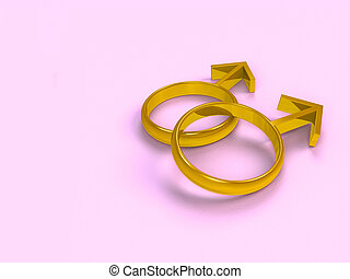 gay wedding card - two male golden rings on pink background