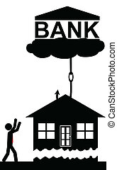 Bank takes the house - Vector , illustration. The bank lifts...