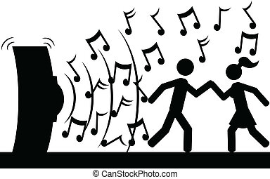 Dance to music - Vector , illustration. A couple is dancing...