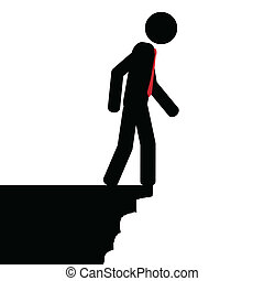Don't jump - Vector , illustration. The man is looking down...