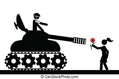 Don't attack - Vector , illustration. The tank aims the girl...