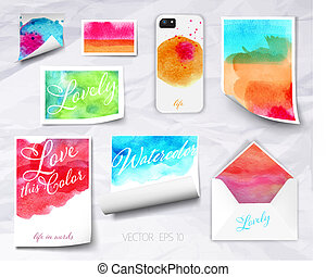 Vector sheets of paper wrapped template design watercolor -...