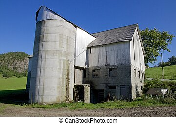 Norwegian Grain Silo closeup 01 - Old grain silo and barn...