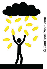 Rain with gold coins