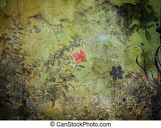 Grunge Flourish Background - Old Rough Grunge Floral Design...