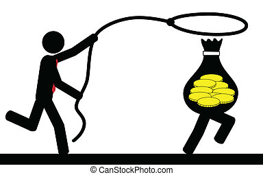 Catch money - Vector , illustration of a man that is running...