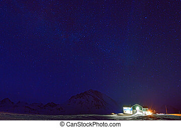 hotel in Greenland - greenland hotel in night and sky full...