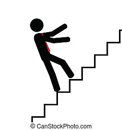Fall on the stairs - Vector,illustration. Man fall on his...