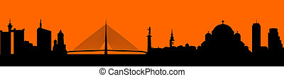 Vector - city skyline silhouette il - Town in orange...