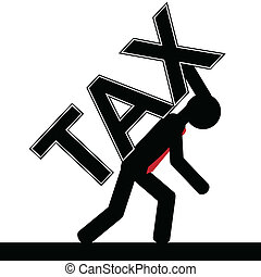 Tax over man - Vector , illustration of a man is carrying...