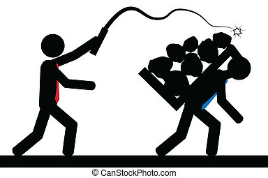 Slavery - Vector , illustration. A man is hitting another...