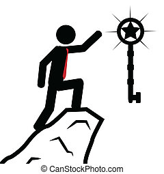 Take the key - Vector , illustration. A man has climbed the...