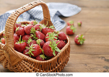 Strawberry in wicker basket - Fresh ripe strawberry in...