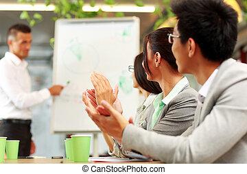 empresa / negocio, gente, aplaudiendo, reunión, empresa /...