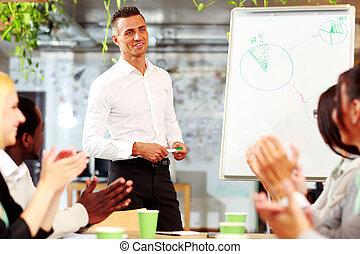 alegre, empresa / negocio, gente, aplaudiendo, reunión,...