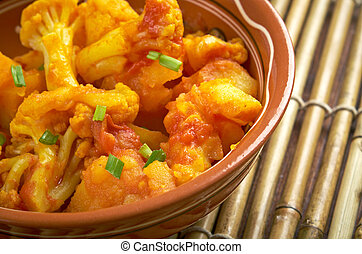 Aloo gobi dry Pakistani, Indian and Nepali cuisine dish made...