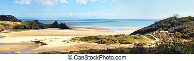 Three Cliffs bay banner - Panoramic view of Three Cliffs Bay...
