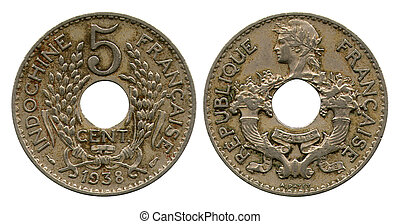 cinco, centavos, francés, indochina, 1938