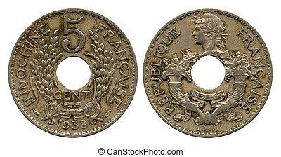 1938, cinco, centavos, francés, indochina