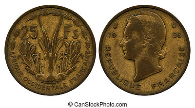 twenty five francs CFA, 1956