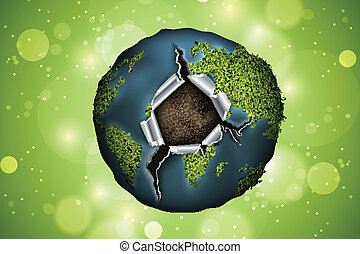 Green planet hole concept, vector, turbine, electricity