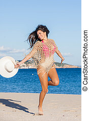 happy woman on summer holiday or vacation