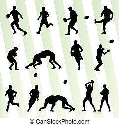 rugby, joueur, homme, silhouette, vecteur, fond, ensemble