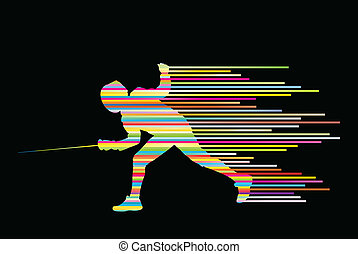 Sword fighters active young man fencing sport silhouettes...