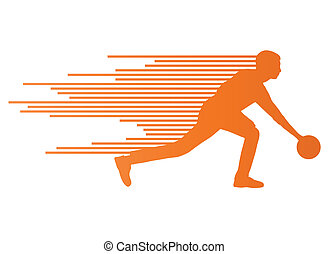Bowling player silhouettes vector background concept made of...