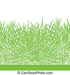 Grass, wild plants detailed silhouettes illustration...