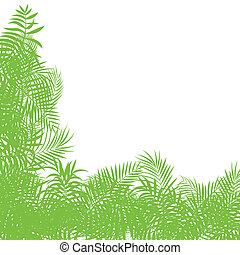 Exotic forest jungle leaves, grass and herbs vector...