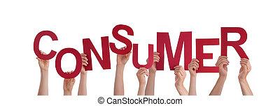 consumidor, segurando, mãos