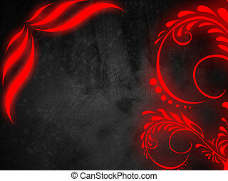red glow floral background