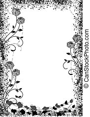 Black roses frame - Black roses silhouette frame with space...