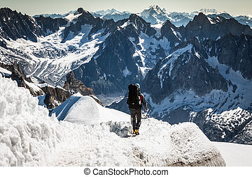 Mont Blanc, Chamonix, French Alps. France. - tourists...